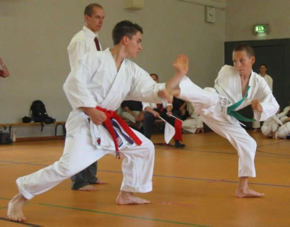Karate practitioners fighting