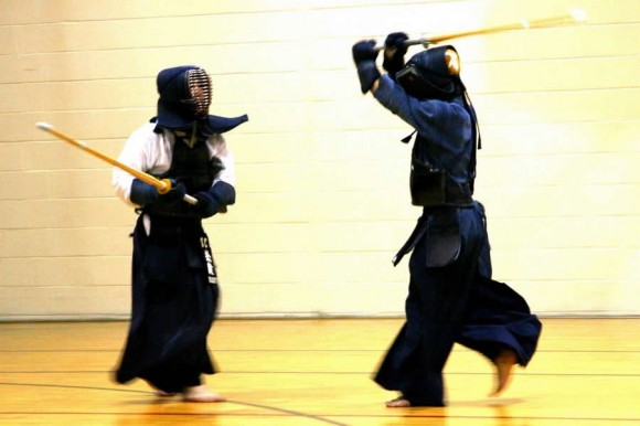 Two kendo practitioners