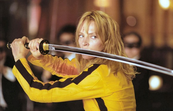 Uma Thurman with Hattori Hanzo's katana in Kill Bill movie