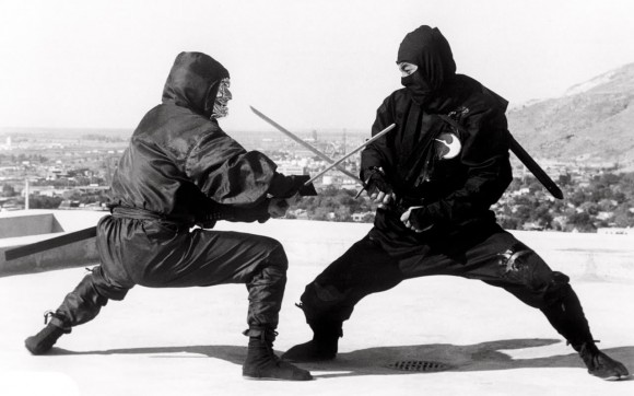 Two ninjas fighting with swords