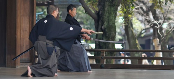 Two men practicing Iaido
